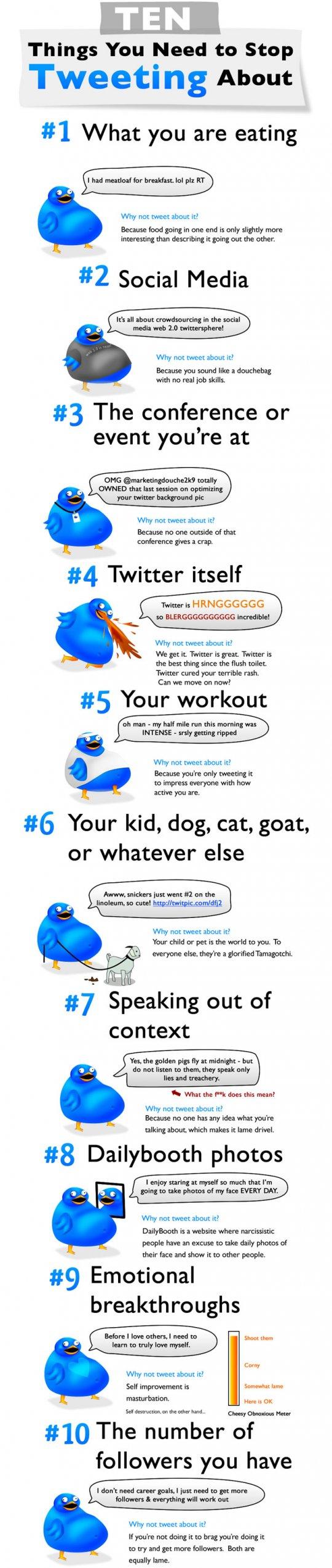 10 Cosas que deberías dejar de twittear