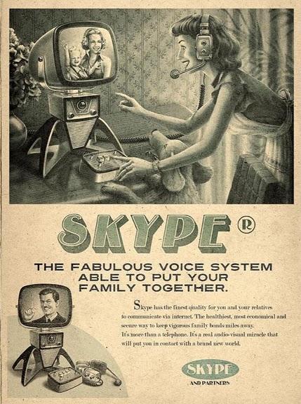 Cartel de Skype en los 50.
