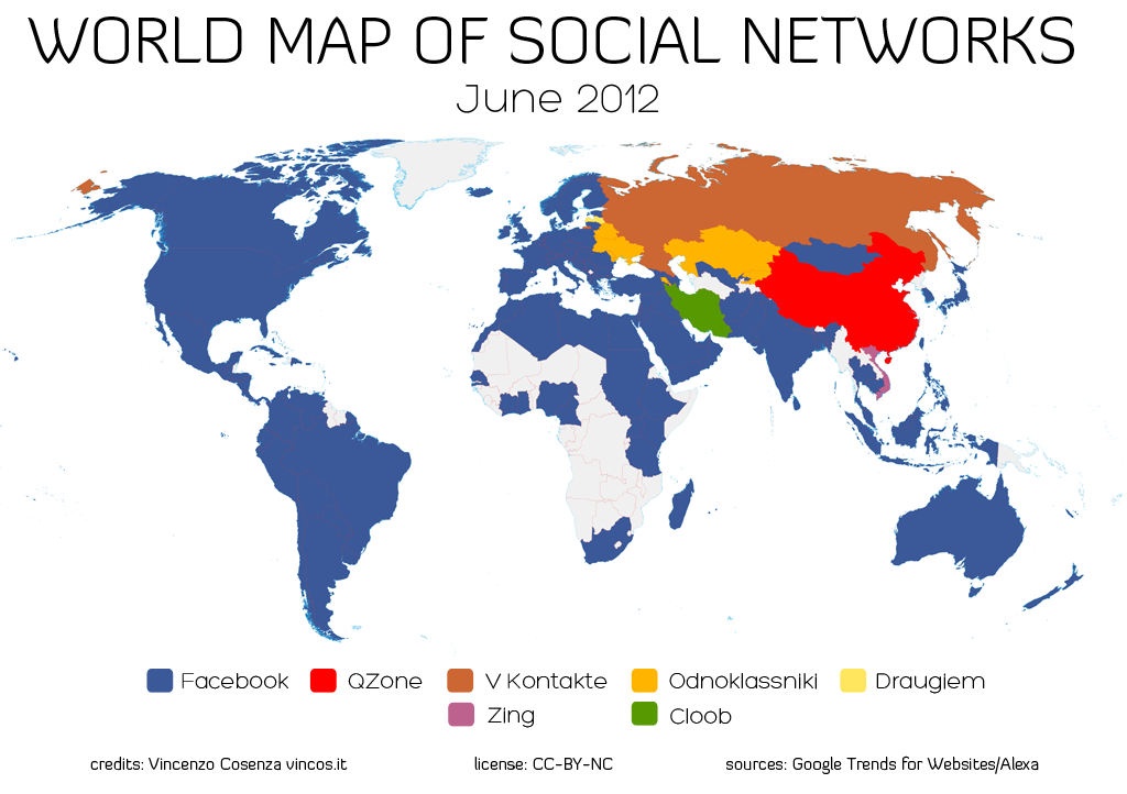 mapa de uso de las redes sociales