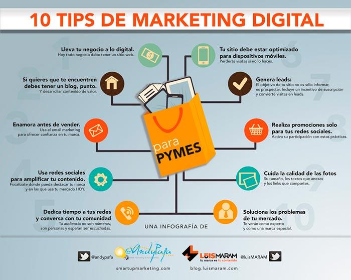 infografia sobre 10 tips de marketing digital