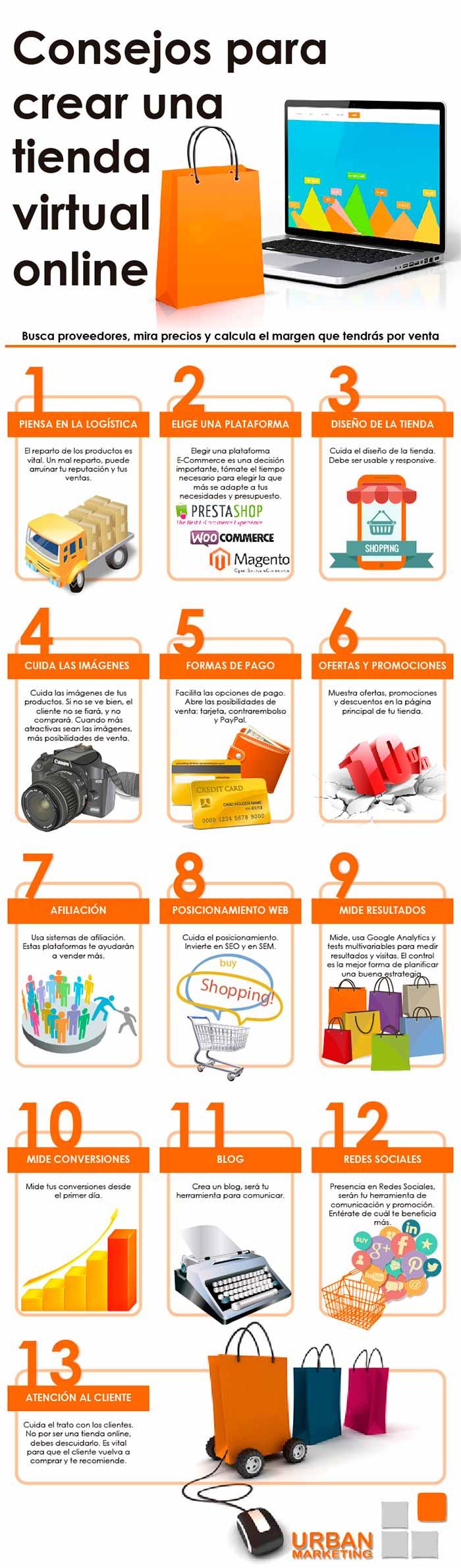 Infografia sobre consejos para una tienda virtual online