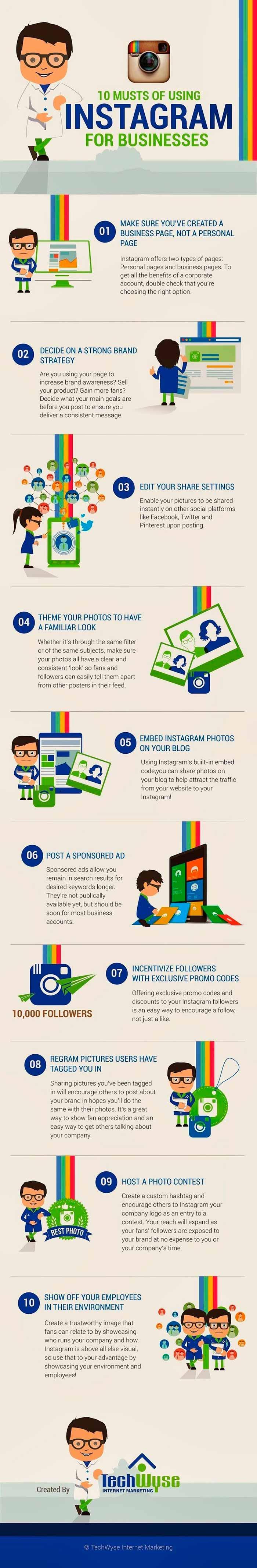 infografia sobre las 10 claves para usar instagram en la empresa