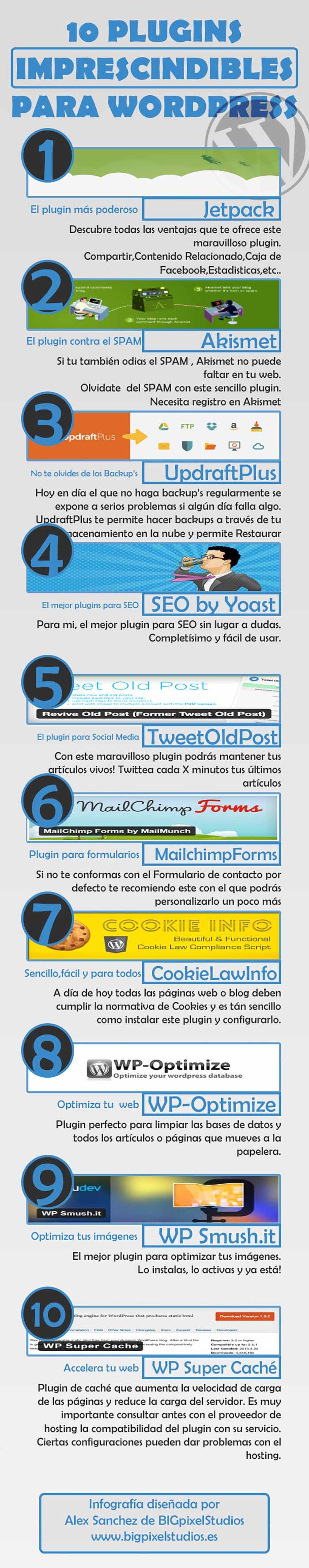 Infografia sobre los 10 plugins imprescindibles para el wordpress