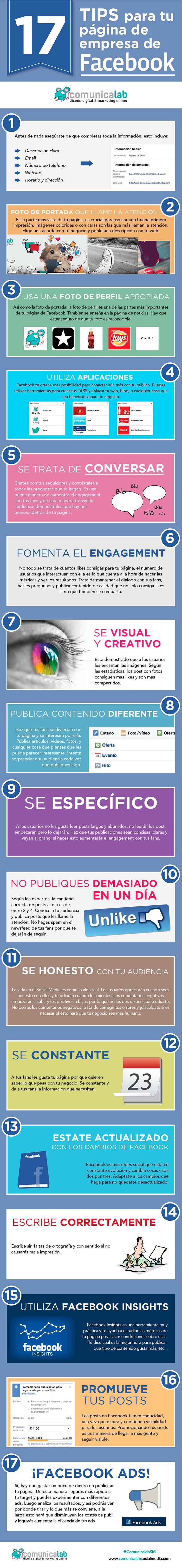Infografia sobre tips para vuestra pagina de empresa en Facebook