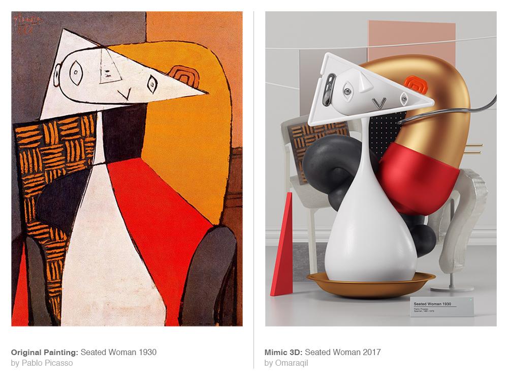 Obra de Picasso, obra original de Picasso y su recreación en 3D