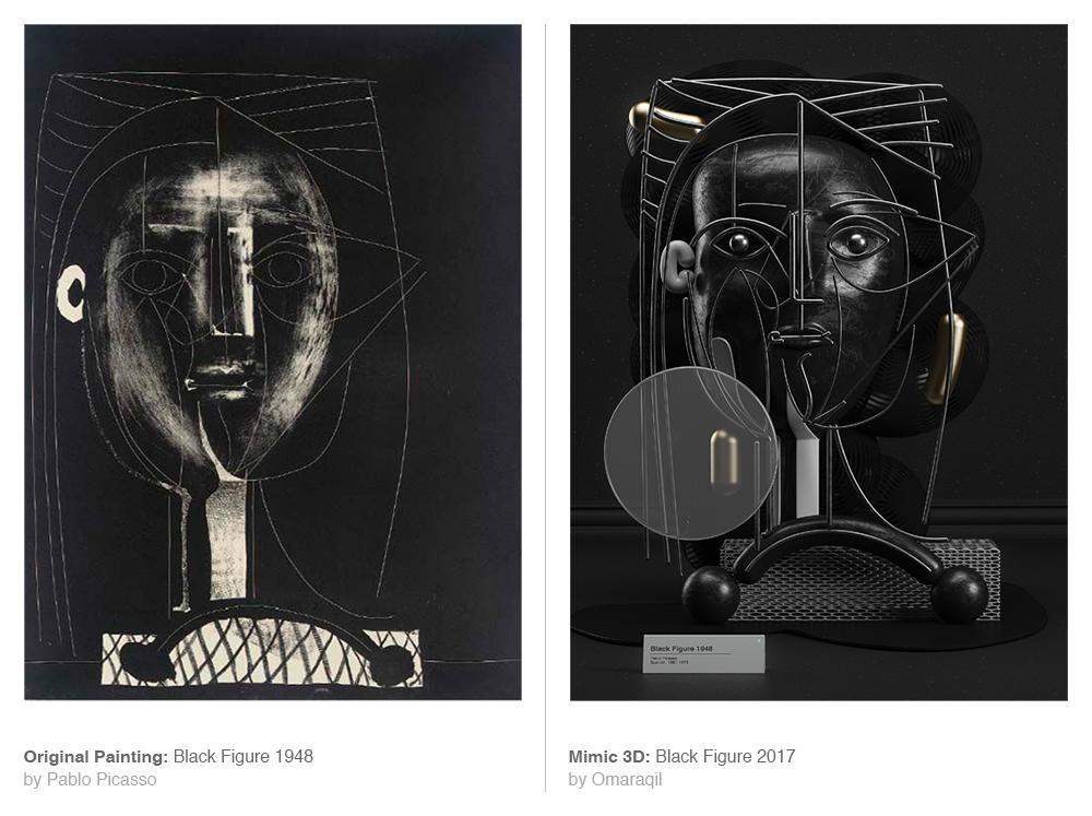 Obra original de Picasso y su recreación en 3D, obras de Picasso