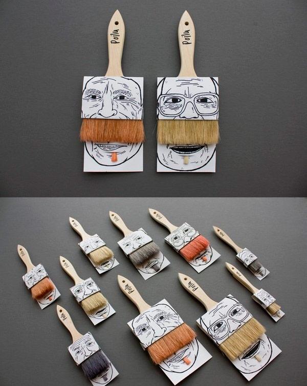 Packaging creativo de las brochas Poilus.