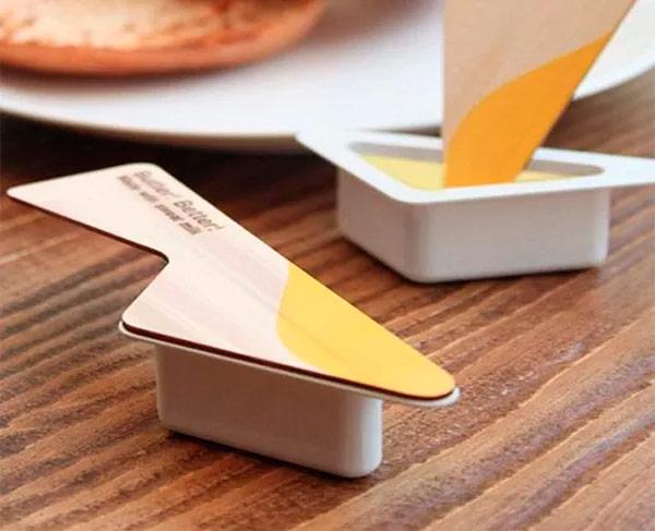 Porciones de mantequilla con tapa-cuchillo para untarla, de Yanko Design.