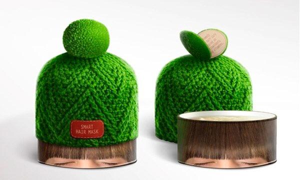 Packagings creativos. Mascarilla protectora para el cabello.