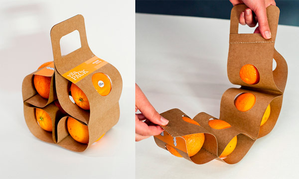 Packagings creativos. Packaging ecológico, para cuatro naranjas.