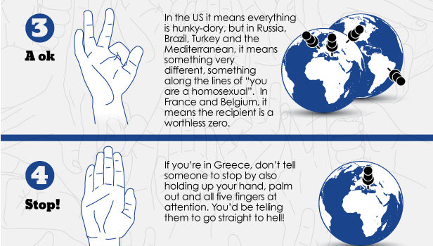 Common hand gestures that can get you in trouble #curiosidades #infographic