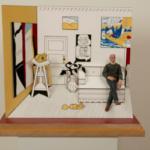 Maquetas en miniatura de artistas famosos trabajando.