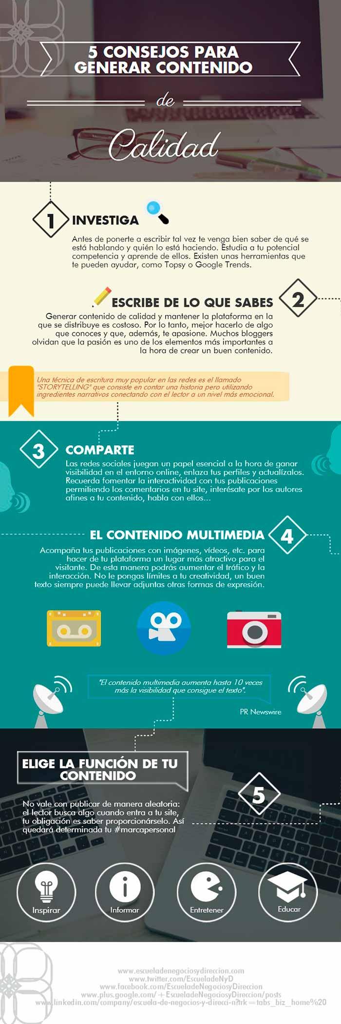 Infografia obre 5 consejos de como generar contenido de calidad