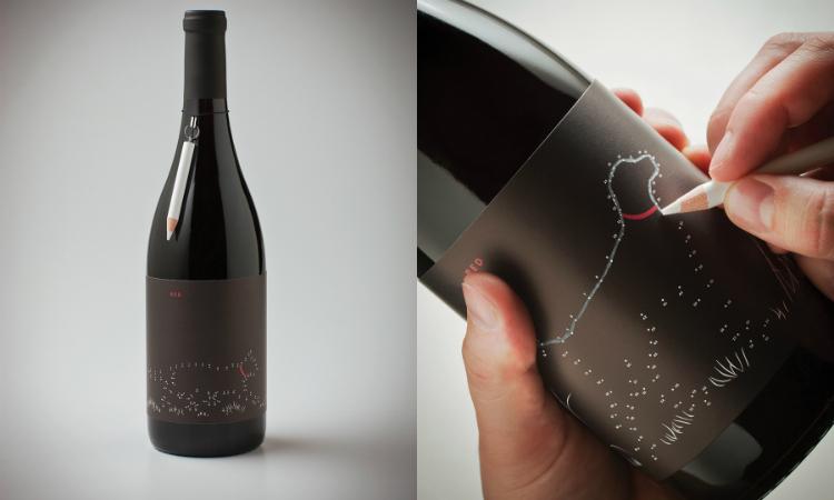 Un packaging de vino para completar el dibujo uniendo puntos