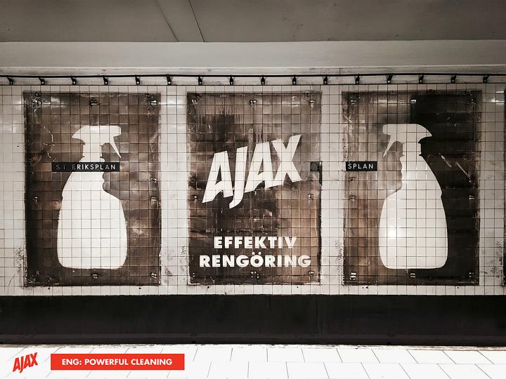 El anuncio acabado en la pared del metro
