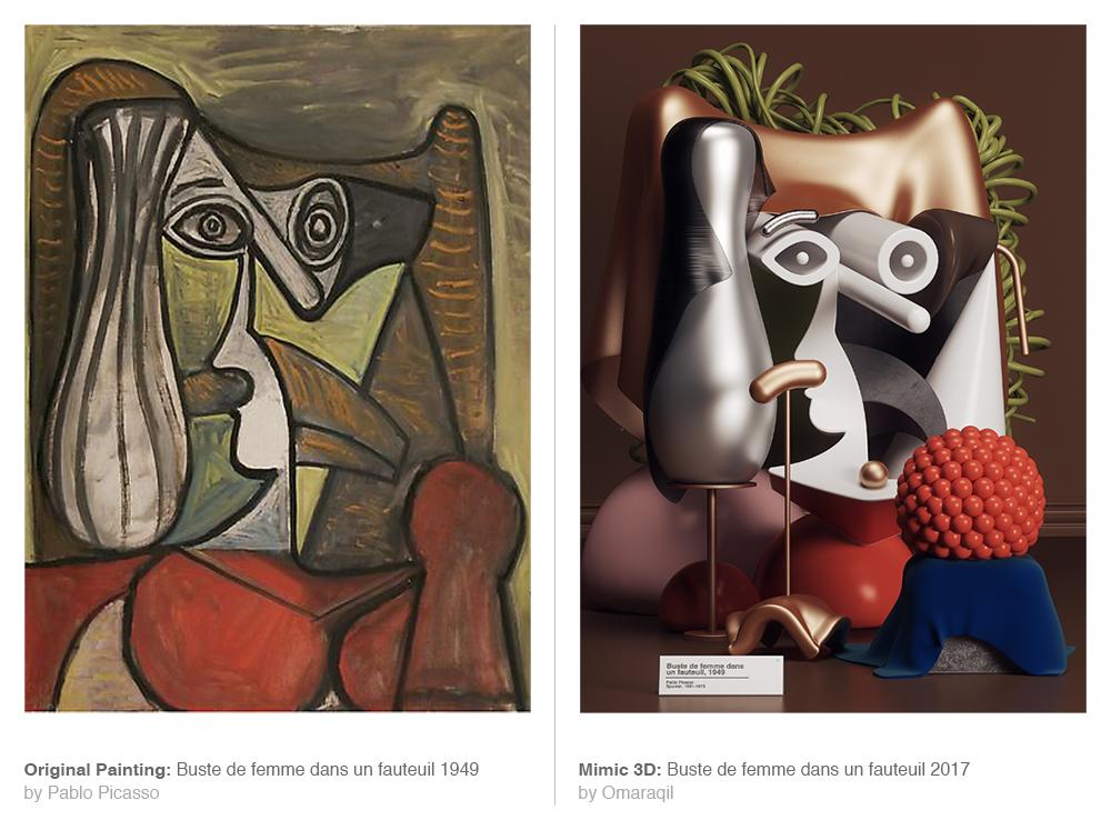 Obras originales de Picasso y las recreadas en 3D