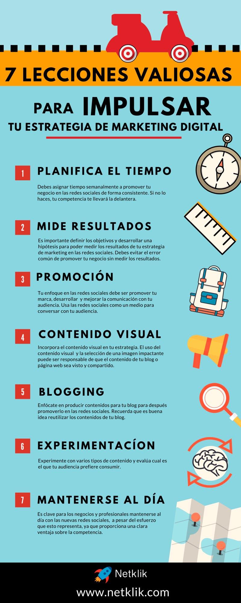 Infografía sobre los consejos para desarrollar una estrategia de marketing digital