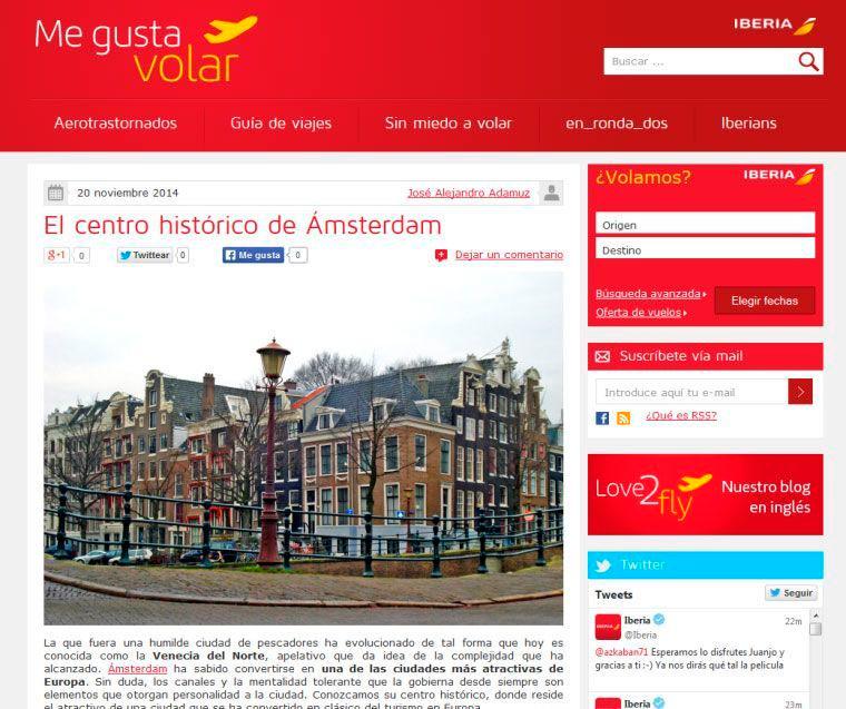Ejemplo de Marketing de Contenidos, de Iberia.