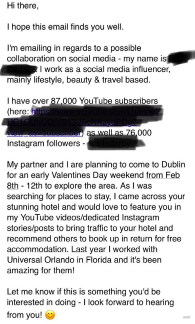 Elle Darby email, influencer