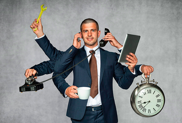 Multitasking ventajas y desventajas. Business man multitareas